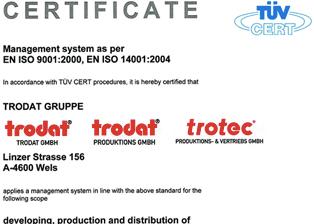 Certificare Trodat ISO 9001:2000, ISO 14001:2004